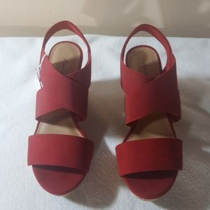 NEW American Eagle Ryan Red Cork Wedge Sandals 6